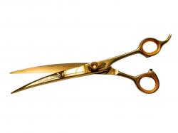 Tesoura Curva Maryam Trading - Fio Navalha 8P Dourada
