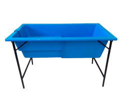 Banheira Grande Com Degrau E Suporte De Ferro - Azul