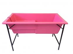 Banheira Grande Com Degrau E Suporte De Ferro - Rosa