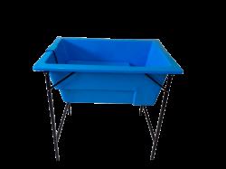 Banheira Pequena Com Degrau E Suporte De Ferro - Azul